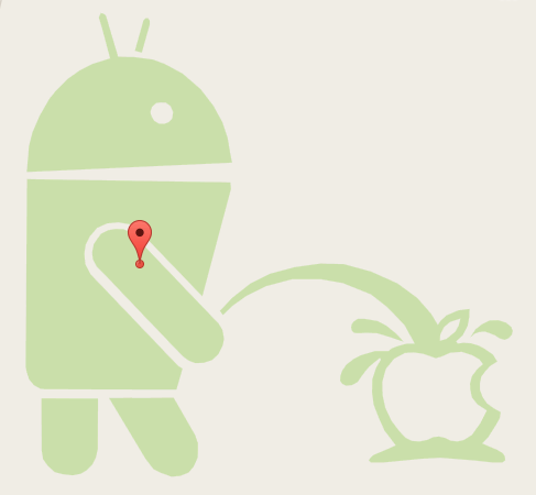 Android Robot Pissing on Apple