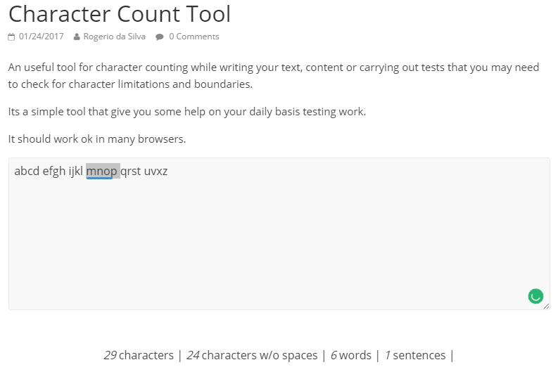 Character Count Tool