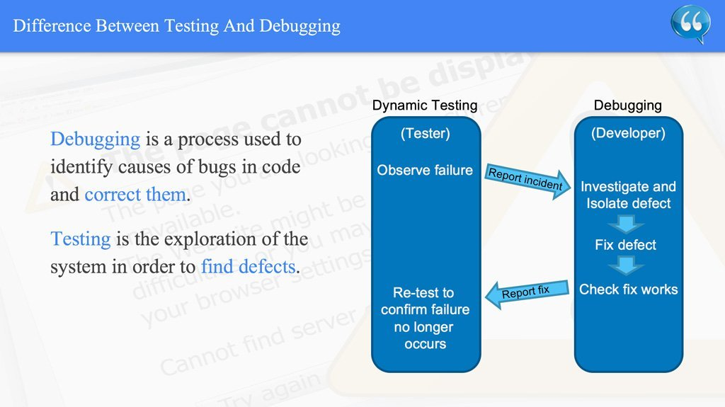 Difference Between Testing And Debugging – ISTQB
