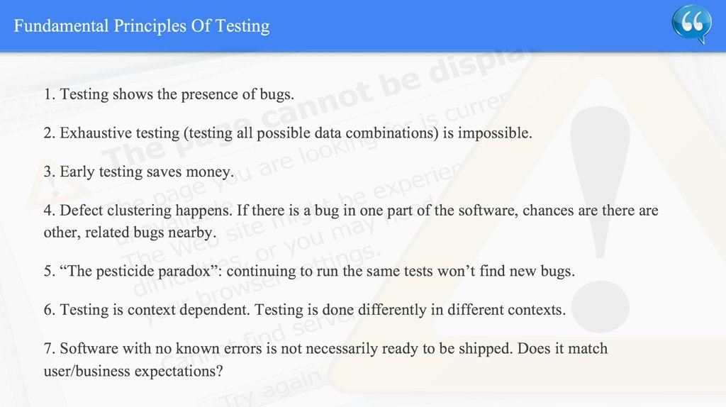Fundamental Principles Of Testing – ISTQB