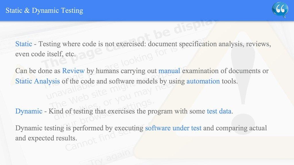 Static & Dynamic Testing – ISTQB