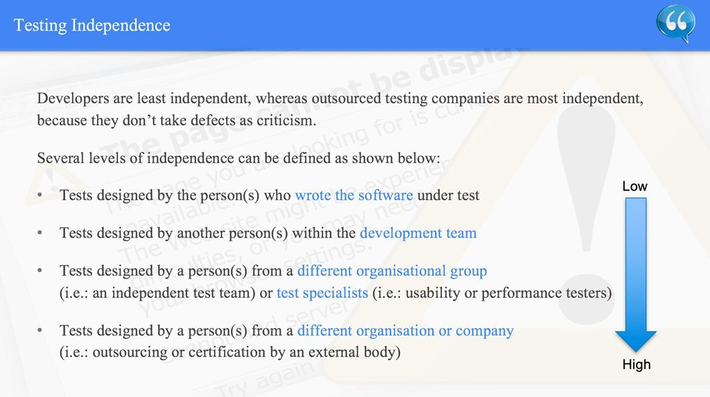 Testing Independence – ISTQB