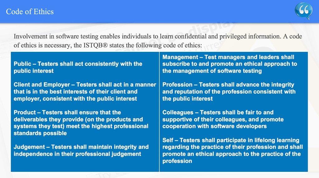 Code of Ethics – ISTQB