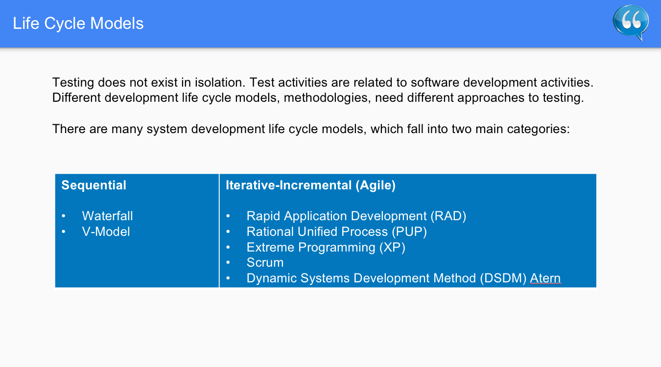 Life Cycle Models Two Main Categories – Software Testing