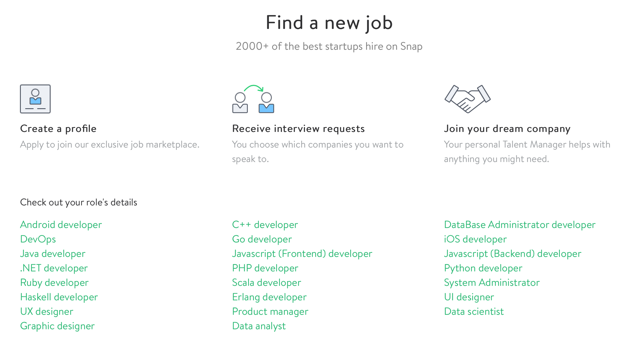 Find a New Job – 2000+ of the best startups hire on Snap
